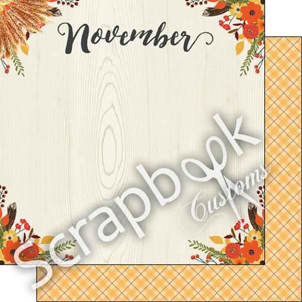 Dubbelzijdig November memories papier voor scrapbooking 12 x 12 inch dubbelzijdig