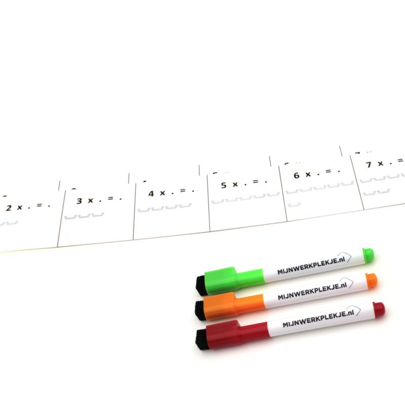 2 Tafelstroken met  3 whitebordstiften