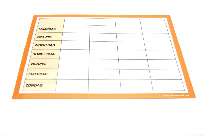 Weekplanner op wisbordje A4 met stift
