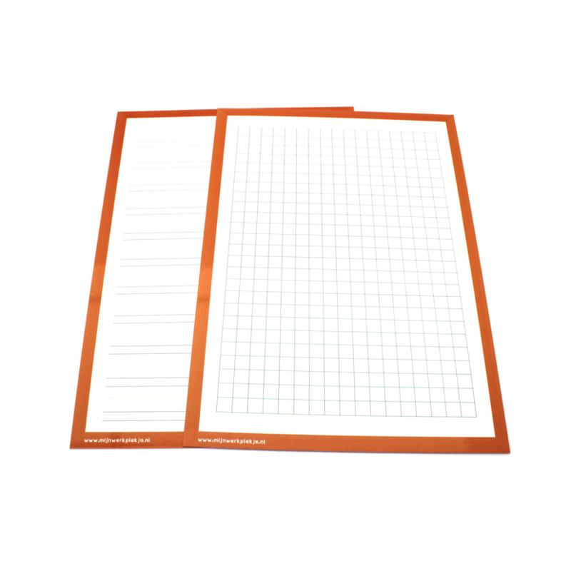 Wisbordjes A4 (30 stuks) met lijntjes en ruitjes