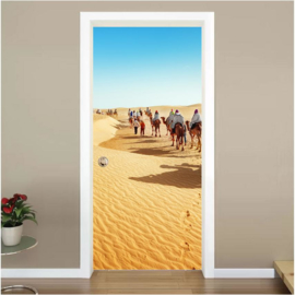 Kamelen tocht woestijn deur sticker