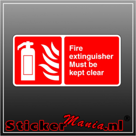 Brandblusser must be kept clear full colour sticker