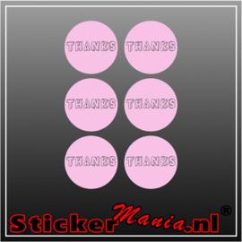 Thanks Stickerset roze (6 Stuks)