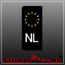 Zwart NL kentekenplaat sticker set