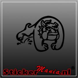 Bulldog peeing sticker