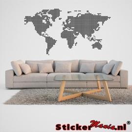 Wereldkaart gestippeld muursticker