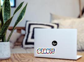 Groovy laptop sticker