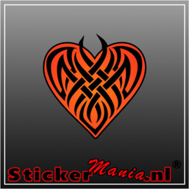 Heart tribal full colour sticker