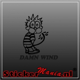 Calvin damn wind sticker