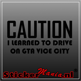 Caution i learned to drive on GTA vice city sticker
