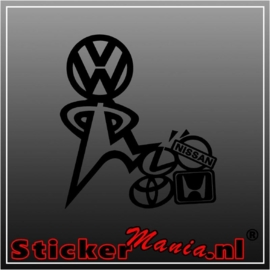 Volkswagen kicks lexus, honda, toyota,  nissan sticker