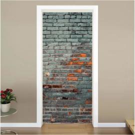 Oude bakstenen muur deur sticker