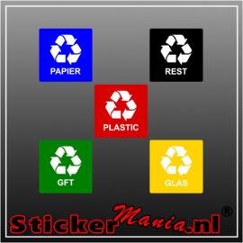 Mix vierkant - set van 5 full colour stickers