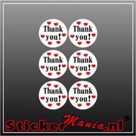 Thank you! Stickerset (6 Stuks)