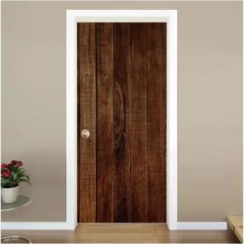 houten planken 3 donkerbruin deur sticker