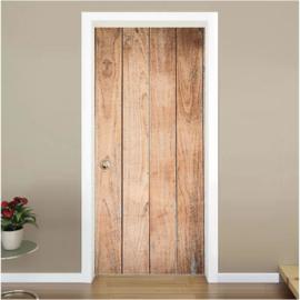 Steiger houten planken deur sticker