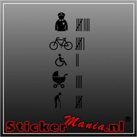 Agent, fiets, rolstoel, kinderwagen, oude man turven sticker