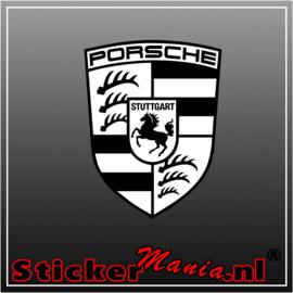 Porsche Logo zwart/wit Full Colour sticker