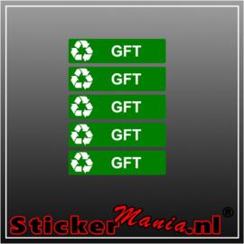 GFT rechthoekig - set van 5 full colour stickers
