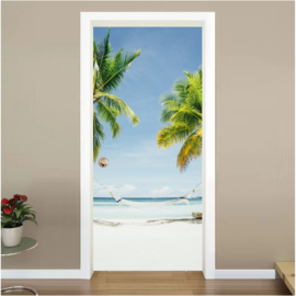 Palmbomen hangmat deur sticker
