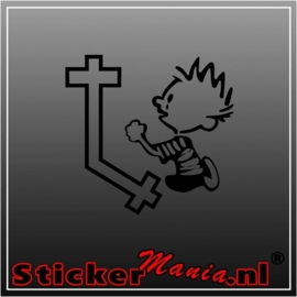 Calvin praying 1 sticker