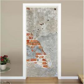 Oude muur deur sticker
