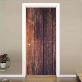 houten planken 1 donkerbruin deur sticker