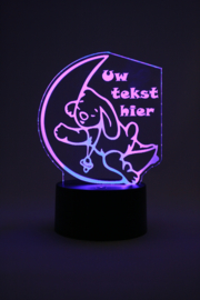 Slapend konijntje met eigen tekst led lamp