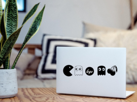 Game poppetjes laptop sticker