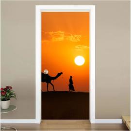 Zonsondergang woestijn deur sticker