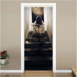 Meisje boven aan trap deur sticker