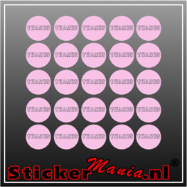 Thanks Stickerset roze (25 Stuks)