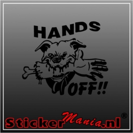 Hands off sticker
