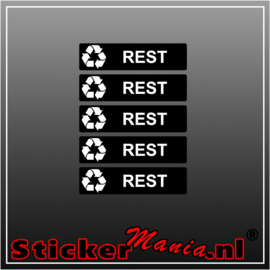 Rest rechthoekig - set van 5 full colour stickers