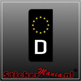 Zwarte (D) Duitse kentekenplaat sticker set