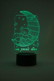 Slapend beertje met eigen tekst led lamp