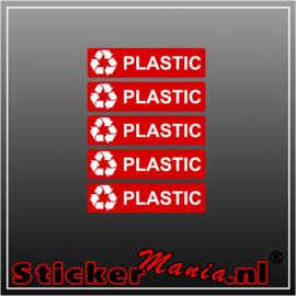 Plastic rechthoekig - set van 5 full colour stickers