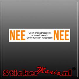 Nee | Nee reclamedrukwerk sticker wit