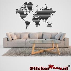 Wereldkaart gestreept muursticker