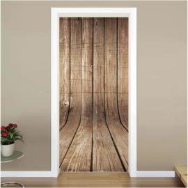 Gebogen hout deur sticker