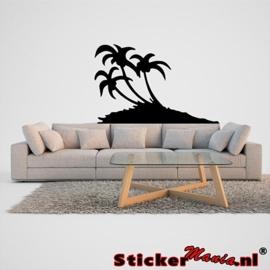 Muursticker eiland met palmbomen 1