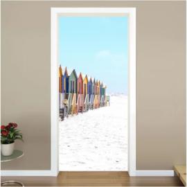 Strand huisjes deur sticker