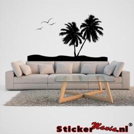 Muursticker eiland met palmbomen 4