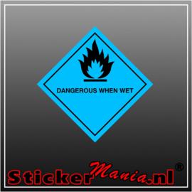 Dangerous when wet full colour sticker