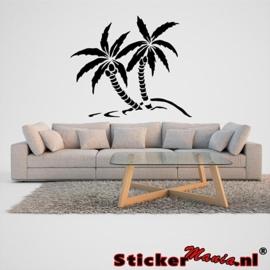 Muursticker eiland met palmbomen 5