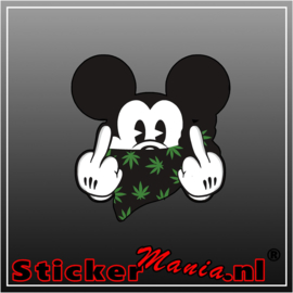 Mickey Mouse Fck You Weed Full Colour sticker