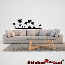Muursticker eiland met palmbomen 3