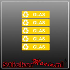 Glas rechthoekig - set van 5 full colour stickers