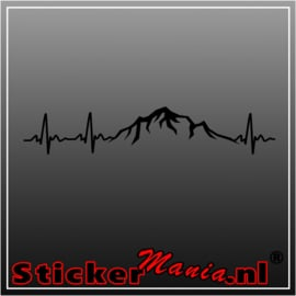Heartbeat mountain sticker