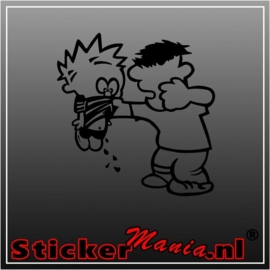 Calvin beating sticker